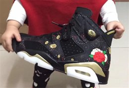 Wholesale Chinese Leather Box - AAA Quality Air Retro 6 Retro Black Gold CNY Chinese New Year Sneakers Sports Men Basketball Shoes Size 40- 47.5 With Original Box