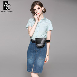 d5e99af701 spring summer woman clothing set single breasted light green t-shirt + knee  length denim skirt casual office cotton suit outfit
