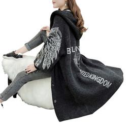95e9aafec7 suéteres de cashmere preto Desconto Asas de anjo Faux Cashmere Grosso  Quente Inverno Longo Cardigan Feminino