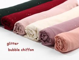 Cachecol glitter reluzente on-line-Bolha chiffon glitter cachecóis xales hijab planície shimmer longo headband envoltório muçulmano 20 cor scarves / lenço 10 pçs / lote