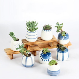 Vaso a mano online-Moda in ceramica succulente pentole dipinte a mano mini vaso di fiori per Home Office Desktop Decor fioriere fabbrica diretta 3ys BB
