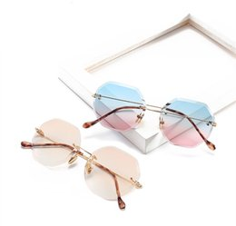 Wholesale Square Trim - Luxury Sunglasses Women Designer Brand Fashion Rimless Sunglasses UV400 Personality Trimming Lens Glasses