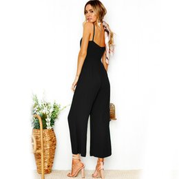 4d1a7b383537 Sexy Camisole Jumpsuit 2018 Summer Women Ankle-Length Pants Bodysuits Solid  Fashion Higt Waist Rompers Womens Jumpsuit