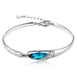 Wholesale Stylish Jewelry For Women - whole saleHot Stylish Women Girls Silver Plated Crystal Rhinestone Bangle Charm Bracelet For Women Jewelry Gift