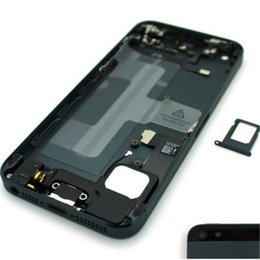 Wholesale Full House Complete - Best quality Grey Complete Full Assembly Housing Replacement Rear Mid Frame Back Metal Battery Cover Case for iPhone 5 5g With Logo + Parts