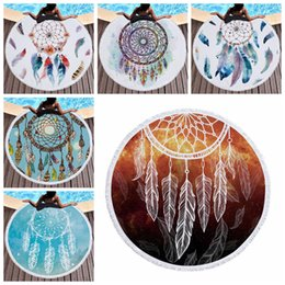 Wholesale beach dreams - Dreamcatcher Microfiber Beach Towels 150cm Round Towel Tapestry Tassel Wind Chime Dream Catcher Swimming Towels Kids Blankets 50pcs OOA5335