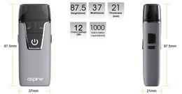 Canada Authentique Aspire Nautilus AIO Kit utilise les bobines Nautilus BVC 12w wattage 4.5ml / 2ml pod avec batterie intégrée 1000mah cigarette électronique Offre