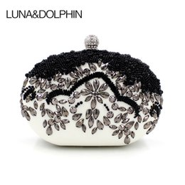 Wholesale vintage pearl bag - Luna&Dolphin Women Fashion Clutch Bags White Black Vintage Day Clutches Bag Evening Beaded Pearl Purses Gift For Lady