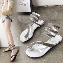 Wholesale womens sexy white heels - Womens Flip Flops Snakelike Rhinestone Flat Sandals Summer Woman Low Heels Woman Sexy Sandal Comfortable Heels
