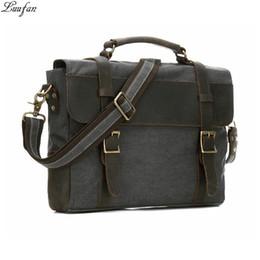Vintage Men Briecase Canvas Leather 14