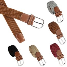 Wholesale Braided Black Belt Men - New Men Leather Braided Elastic Stretch Metal Buckle Belt Waistband Casual Canvas Material men's luxury belts Vicky