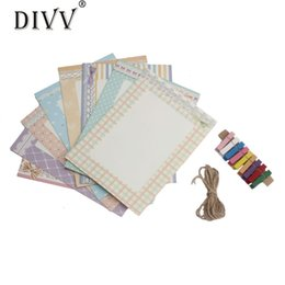 Wholesale Wholesale Wooden Picture Frames - DIVV Top Grand New Creative Gift Home Decoration 8pcs lot DIY Wall Hanging Paper Photo Frame Wall Picture Album+Rope+Wooden Clip