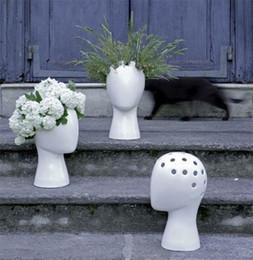 Decorazione domestica del vaso bianco online-Vaso da fiori Originalità Testa Umana Astratto Vaso di ceramica Smalto bianco Vasi di fiori Modello di casa Decorazione della stanza Ornamenti Vendita calda 52fx gg