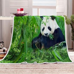 adult panda bedding Promo Codes - Green bamboo lovely Panda 3D digital print animals blanket Child Adult Flannel fleece Soft Sherpa bed sofa Couch Coverlet M2004