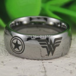 Wholesale Dome Rings - wholesale Free Shipping!USA Hot Sales E&C TUNGSTEN LUXURY JEWELRY 8MM SILVER DOME Captain America&Wonder Woman MEN'S TUNGSTEN