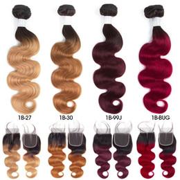 27 tejiendo el cabello online-Paquetes del pelo indio crudo pre-coloreado 3 con el cierre 1b / 27 Ombre El pelo humano de la onda del cuerpo de T1B / 99J teje los paquetes con el cierre T1B / 30 T1B / BUG