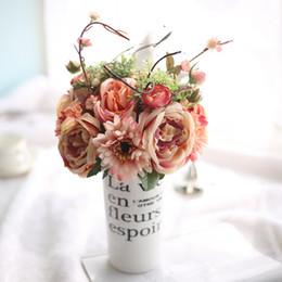 Margaritas artesanales online-Flor Artificial Europea Vivid Rose rama de la Margarita Africana Único ramo de flores para el banquete de boda decoración del hogar