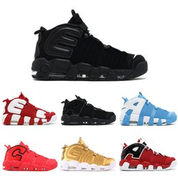 Wholesale more metallic - More UPTEMPO Basketball Shoes GS Olympic chi qs chicago 96 Bulls UNC Cool Grey White Metallic Gold Men Sport Sneakers