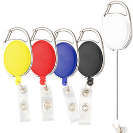Wholesale Keychain Id Holder - Retractable Pull Keys Ring Multi Color Keychain Ellipse Key Buckle ID Card Badge Holder School Office Articles 2 2st C