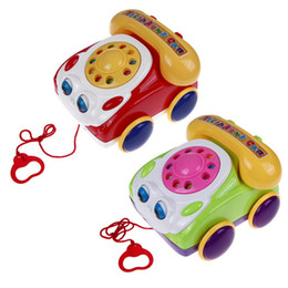 Wholesale Walking Toys Babies - 1PC Kids Colorful Music Phone Toy Basics Chatter Telephone for Baby Walking Assistant Educational Fun Games Toys Color Random