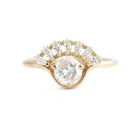 Marquise and Round Moissanite 1ctw lab Diamond Solitaire Wedding Anello di fidanzamento Solid 14K oro giallo per le donne S923 cheap yellow diamond solitaire ring da anello giallo di diamanti solitario fornitori
