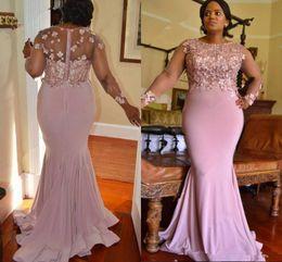 Wholesale Modern Junior Bridesmaid Dresses - Pink Mermaid Africa Formal Evening Dresses Jewel Long Sleeve Flower Applique Beaded Junior Bohomian Party Prom Gown Junior Bridesmaid Wear