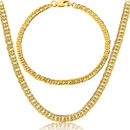 Wholesale chunky yellow jewelry - 18k Yellow Gold Filled Necklace And Bracelet Set Gold Color Hip Hop Chunky Big Chain For Mens Jewelry Set