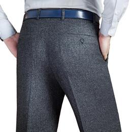 abito classico classico diritto nero Sconti Pantalone da uomo nero in cotone con pantaloni larghi per uomo, pantaloni classici da uomo