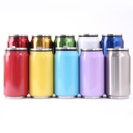 Wholesale Cups Lids Straws - 10 Colors 350ml Cola Bottle Water Cup Vacuum Insulated Cola Can Stainless Steel Cola Shape Mug With Straw Lids CCA9324 60pcs