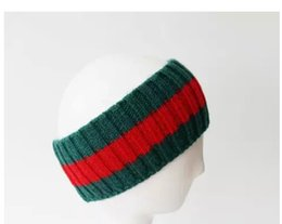 Wholesale fashion hair scarves - Designer wool striped Headbands Fashion Luxury Brand Elastic green red Turban Hair bands Scarf For Women and Men Retro Headwraps Gifts