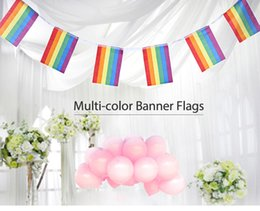 Wholesale Side String - 14*21CM 5.5m 20pcs String Single-sided Lesbian Gay Pride LGBT Flag Rainbow Banners Party Decorations Wedding Centerpieces Home Decor