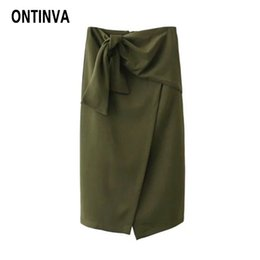 Wholesale Green High Waist Pencil Skirt - Womens Fashion Slim Green Skirt with Belt Knee Length Asymmetrical Hem High Waist Office Ladies Elegant Pencil Skirts Jupes 2018