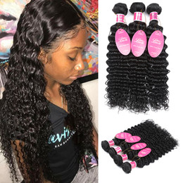 Wholesale Wet Wavy Hair Extensions - Wholesale Mink Brazilian Virgin Hair Deep Curly Weave Bundles Wet and Wavy Human Hair 3 or 4 Bundles 100% Brazilian Human Hair Extensions