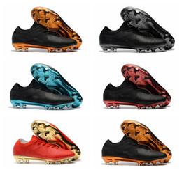 Botas de fútbol de oro negro online-2018 botines de fútbol baratos Mercurial Vapors Ultra FG botas de fútbol originales para hombre zapatos de fútbol botas de futbol ultra boost Negro oro Azul