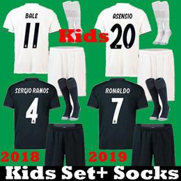 Wholesale real children - New 2018 2019 Kids Real Madrid ASENSIO SERGIO RAMOS ronaldo MODRIC Bale Soccer Jerseys Uniform Set 18 19 kits children MARCELO ISCO Shirts