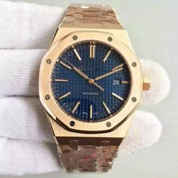 Wholesale Mechanical Face - 2018 AAA Luxury Watch Men 18K Rose gold Automatic movement BLUE face mens watch sapphire 154-00 Stainless Steel original clasp FREE SHIPPING