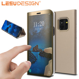 Wholesale Iphone Flip Cover Case - LEEU DESIGN Newest Smart Mirror Cover With stand Flip Cases For samsung Galaxy Note 8 S7 EDGE S9 S8 PLUS A8 2018 A5 J5 J3 J7 2017 EURO J530