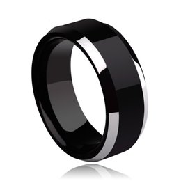 Wholesale 14k Gold Men Ring Band - 2018 New Band Rings 8mm Black Tungsten Ring Wedding Ring for Men and Women Christmas gift