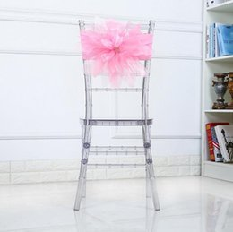 Wholesale wholesale sheer fabrics - Organza Chair Sashes Chair Bows Wedding Party Xmas Chair Sashes Banquet Decoration Sheer Organza Fabric Pack