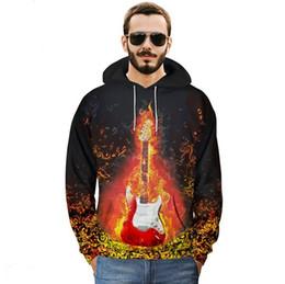 Argentina 2018 suéter de otoño e invierno pareja Sudadera con estampado de Guitarra de llama creativa Nuevo estilo sudadera con capucha de gran tamaño gordo de la marca cheap flame guitar brand Suministro