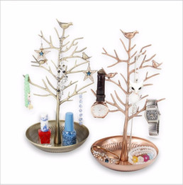 Wholesale Vintage Metal Christmas Tree - Lanolin Hot selling earrings display holders earrings display shelf tree frame copper display for jewelry vintage Bird Tree rack