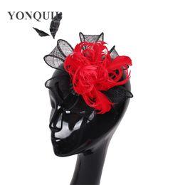 Affascinanti cappelli di piume rosse per cappelli per matrimoni donne eleganti cappelli neri cappellino chic derby race event accessori per feste SYF15 da