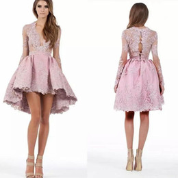 low plunging dresses Promo Codes - New Pink High Low Homecoming Dresses Custom Made A Line Long Sleeves High Low Lace Applique Plunging Cocktail Party Gowns Short Mini Dress