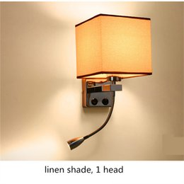 Wholesale Wall Mounted Bedside Lights - Modern LED Wall Lamp Fabric Lampshade Bedroom Bedside Sconce Flexible Reading Light Fixture Aisle Wall Mount Lighting cubic cloth shade E27