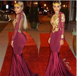 Wholesale Dark Blue Spandex Shirt - Burgundy Long Sleeve Gold Lace Mermaid Prom Dresses South African Style Applique High Neck Beaded Backless Evening Party Gowns Red Carpet