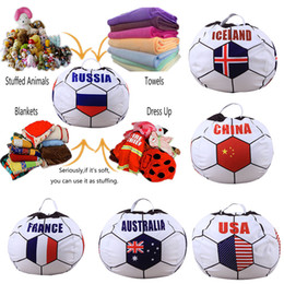 Wholesale Country Style Bags - 26 inch Russian Football Storage Bean Bag Baby Stuffed Animal Country Flag print Pouch Bag 34 styles C4125