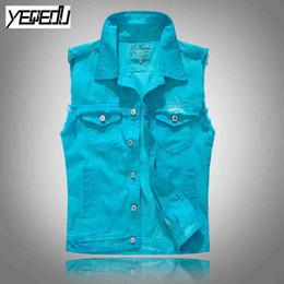 Wholesale denim vests for men - #3407 2018 Denim vests for men Punk Slim Ripped biker vest Streetwear Sleeveless jacket Cardigan Vintage Gilet moto Blue Hip hop