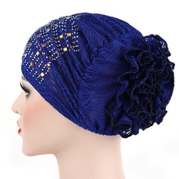 Wholesale Yellow Wrapped Candy - Candy Colors Women Headwear Lace Hot Drilling Headwrap African Head wrap Twist Hair Band Turban Bandana Hijab Accessories