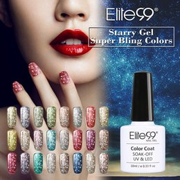 Bling art en Ligne-Elite99 10 ml Starry Glitter Paillettes Nail Gel Polish UV LED Trempez Off Bling Gel Couleur Manteau Nail Art UV Gel Laque Vanish DIY