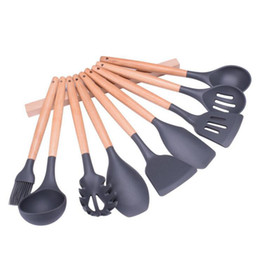 Wholesale Spatulas Wood - Wood Handle Silicone Cooking Utensils For Kitchen Slotted Turner Spatula Spoon Ladle Spaghetti Tools Cooking Sets 120pcs OOA3881